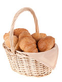 beautiful delicious bread in the basket Royalty Free Stock Photos