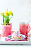 Beautiful and delicious breakfast concept. With cream cakes and cup of tea on vintage serving tray. Royalty Free Stock Photos