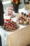 Beautiful delicious cakes. confectionery curry at a festive party. many sweet muffins on a tray.  royalty free stock photo