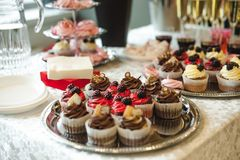 Beautiful delicious cakes. confectionery curry at a festive party. many sweet muffins on a tray.  stock images