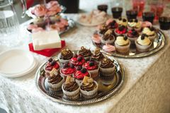 Beautiful delicious cakes. confectionery curry at a festive party. many sweet muffins on a tray.  royalty free stock images