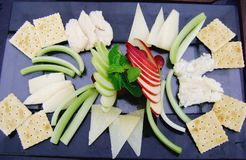 Beautiful and delicious Cheeses plate stock photo