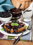 Beautiful delicious pancakes with blackberry Stock Image