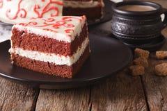 Beautiful delicious slice of red velvet cake macro. horizontal Royalty Free Stock Photo
