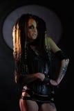 Beautiful demon girl with black eyes Stock Image