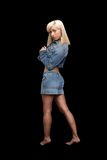 Beautiful Denim-clad Blonde Stock Photography