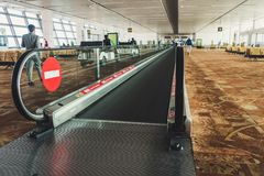 Beautiful departure lounge of New Delhi International Airport with travelator stock images