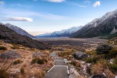 Natural landscape of descending stairs at Tasman Valley New Zealand stock image