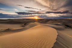 Beautiful desert landscape with a colorful sunset. Royalty Free Stock Images