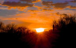 Beautiful Desert Sunset Silhouette. Night fall on the desert and a beautiful sunburst lights the desert floor at dusk Royalty Free Stock Image