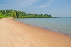 Beautiful deserted tropical beach on Bubaque island, Bijagos archipelago, Guinea Bissau, West Africa.  royalty free stock photo