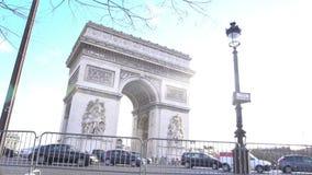 Beautiful design of Arc de Triomphe, sunlit central square in Paris, tourism. Stock footage stock footage