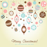 Beautiful design Christmas greeting card. With xmas toys, balls and stars Stock Images