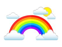 Beautiful design of a colorful rainbow with clouds. On a light background Stock Image