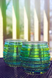 Beautiful design with glass cups Royalty Free Stock Photo