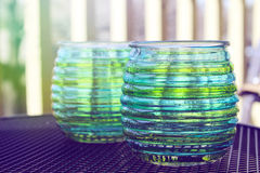 Beautiful design with glass cups Stock Image