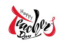 Beautiful design Happy Teacher`s Day with handwritten text on a vector illustration