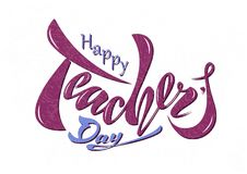 Beautiful design Happy Teacher`s Day with handwritten text on a royalty free illustration