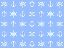 Beautiful design of the sea background with white wheels and anchors royalty free illustration