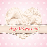 Beautiful design for Valentine's Day greeting card with crumpled Royalty Free Stock Photography