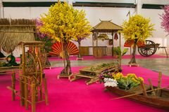 Beautiful Design With Plant Of Flowers At The East Festival Festival Dell`Oriente In Bastia Umbria Stock Images