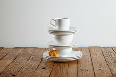 Beautiful dessert presented on a pyramid of teaware royalty free stock images
