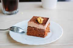 Beautiful dessert in restaurant. On the table Royalty Free Stock Photography