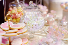 Beautiful desserts, sweets and candy table Stock Photo