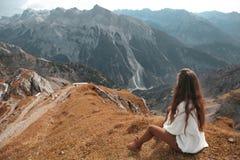 Beautiful destinations. Single bench over Ridge Mountain Nationa. L Park, vacation destination Landscape background Royalty Free Stock Image