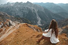 Beautiful destinations. Single bench over Ridge Mountain Nationa. L Park, vacation destination Landscape background Stock Image