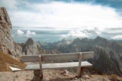 Beautiful destinations. Single bench over Ridge Mountain Nationa. L Park, vacation destination Landscape background Stock Photo