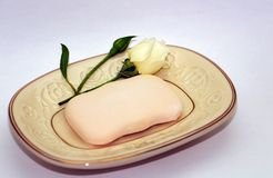 The little rose and the soap. royalty free stock photos