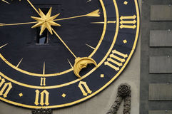 Beautiful detail of Clock Tower in Bern Royalty Free Stock Images