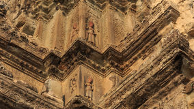 Beautiful Detail Decoration of  Exterior Wall of Angkor Wat Stock Photography