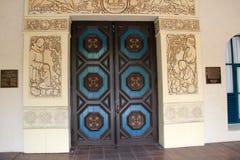 Beautiful detail in handcarved doors, Balboa Park, San Diego, California, 2016. Beautiful detail in hand carved wood doors and stone columns, Balboa Park, San Royalty Free Stock Image
