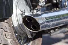 Beautiful detail of the motorcycle. exhaust pipe.  Stock Images