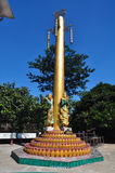 Beautiful detail of the temple of Kyaik Pun Pagoda. Pagoda of four giant Buddha statues in Bago, Myanmar Stock Photo