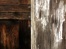 Beautiful Detail of Wood Grain and Peeling Paint Stock Photo