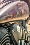 Beautiful detailed airbrush of an Indian on a motorcycle royalty free stock photos