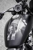 Beautiful detailed airbrush of an Indian on a motorcycle stock image