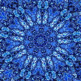 Beautiful Detailed Blue Mandala Fractal. Abstract Background Pattern. Decorative Modern Artwork. Creative Ornate Image. Element. royalty free illustration