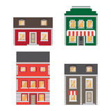 Beautiful detailed cartoon cityscape collection with townhouses. Small town street with victorian building facades Royalty Free Stock Image