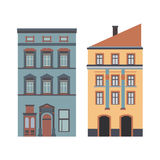 Beautiful detailed cartoon cityscape collection with townhouses. Small town street  victorian building facades. Template Royalty Free Stock Photos