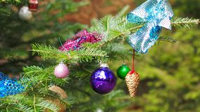 Colorful decoration with various christmas items. Beautiful detailed colorful decoration with various christmas items on a tree stock images