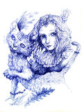 Beautiful detailed fantasy drawing of a fairy girl and a cat, or Royalty Free Stock Images