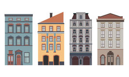 Beautiful detailed linear cityscape collection with townhouses. Small town street with victorian building facades Stock Image