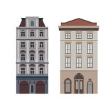 Beautiful detailed linear cityscape collection with townhouses. Small town street  victorian building facades. Template Royalty Free Stock Photo