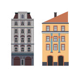 Beautiful detailed linear cityscape collection with townhouses. Small town street  victorian building facades. Template Stock Photography