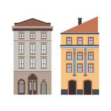 Beautiful detailed linear cityscape collection with townhouses. Small town street with victorian building facades Royalty Free Stock Image