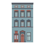 Beautiful detailed linear cityscape collection with townhouses. Small town street with victorian building facades Stock Photography